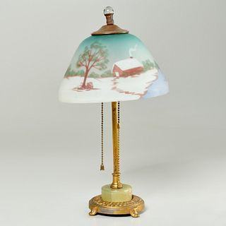 American reverse painted boudoir lamp, signed