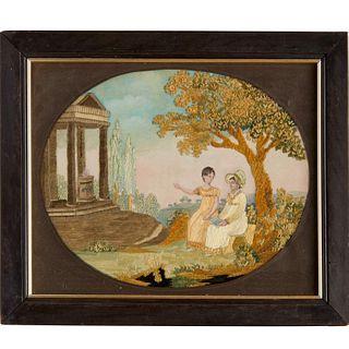 Regency silk and watercolor memorial picture