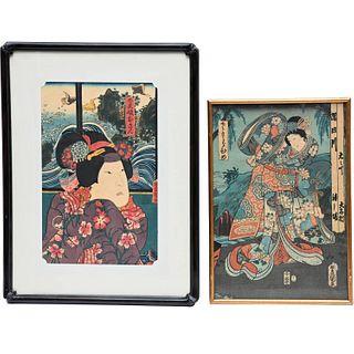 Utagawa Kunisada, (2) woodblock prints