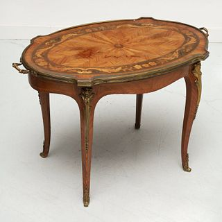 Louis XV style marquetry inlaid coffee table