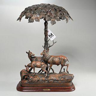 """Sous Bois"" patinated metal figural lamp"