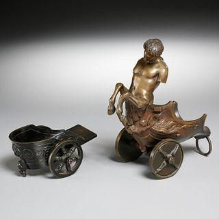 (2) bronze chariots, one a figure of a centaur