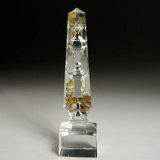 Antique reverse painted cut crystal memorial