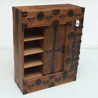 Japanese or Korean wood and iron Tansu chest