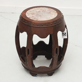 Antique Chinese marble inset barrel stool