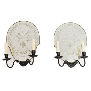 Pair Vaughan etched mirror sconces