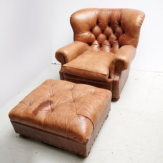 Ralph Lauren leather club chair and ottoman