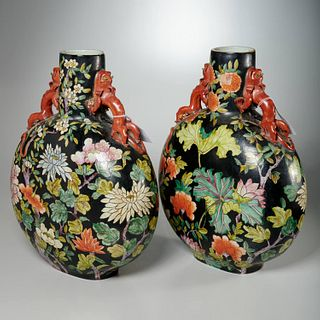 Pair large Chinese famille noir moon vases