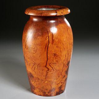 Large vintage Wood Studio burlwood vase