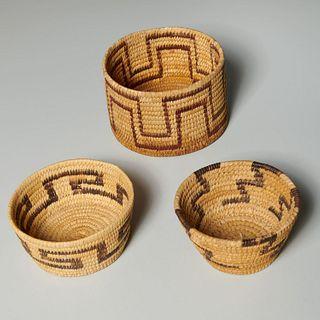 (3) Native American Paiute woven baskets