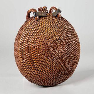Native American woven basketry canteen