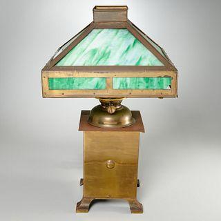 Arts & Crafts slag glass oil lamp