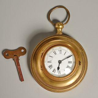 French Empire gilt bronze wall clock