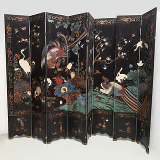 Chinese eight-panel lacquered screen