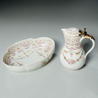Antique French painted porcelain pitcher & bowl