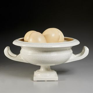 Italian ceramic and ostrich egg centerpiece