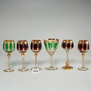 (6) Moser (attrib) Bohemian glass wine goblets