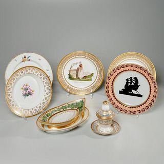 Continental gilt porcelain tableware, incl. KPM