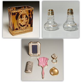 Silver & glass Objet de Vertu vanity group