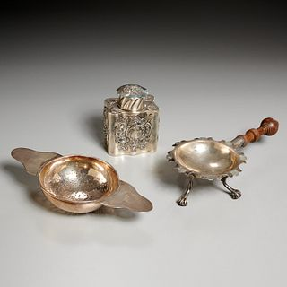 Antique silver tea caddy, strainer, and stand