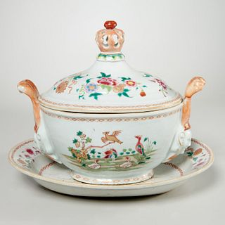 Chinese Export famille rose porcelain soup tureen