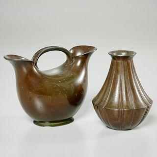 (2) Just Andersen small bronze vases