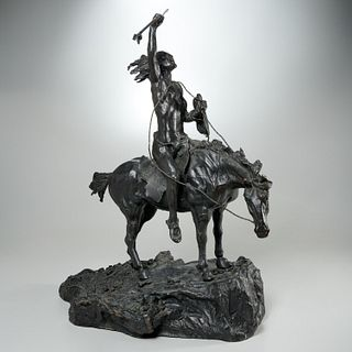 Gregory Perillo, large bronze Indian warrior
