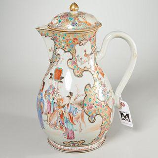 Large Chinese famille rose porcelain milk jug