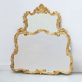 Vintage Louis XV style carved giltwood mirror