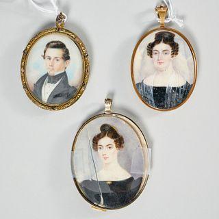 (3) Victorian portrait miniatures