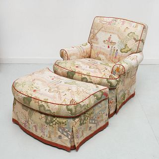 Designer Chinoiserie club chair and ottoman