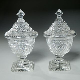 Pair Anglo-Irish style cut glass sweet meat urns