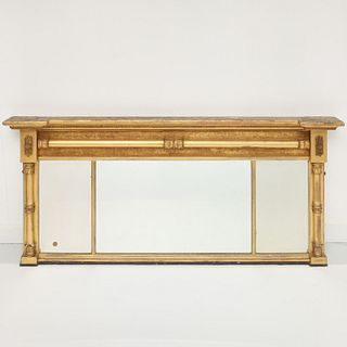 American Classical giltwood over-mantel mirror