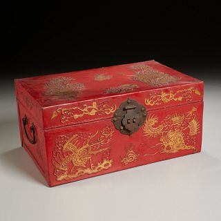 Chinese small red lacquered leather chest