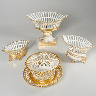 Group Old Paris porcelain baskets