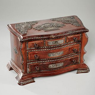 Portuguese silver mounted jewelry chest