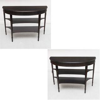 Pair Neoclassic demilune console tables