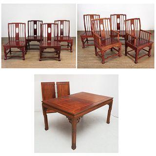 Chinese carved hardwood dining set