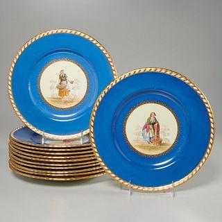 Set (12) Mintons figural cabinet plates