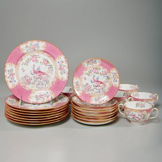 "Mintons pink ""Cockatrice"" dessert set"