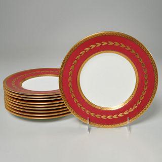 Set (10) Mintons for Tiffany & Co. gilt plates