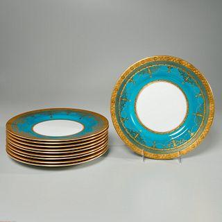 Fine set (10) Minton gilt turquoise dinner plates
