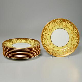 Set (10) Mintons parcel gilt salad plates