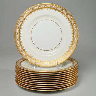 Set (12) Mintons parcel gilt service plates