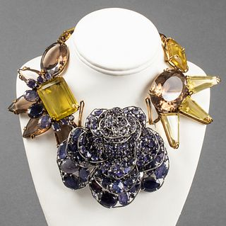 Iradj Moini Iolite & Smoky Quartz Brooch/Necklace