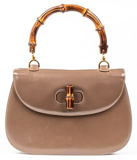 Gucci Brown Leather Bamboo Handle Handbag