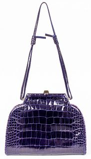 Fendi Purple Crocodile Handbag