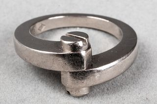 """Cartier 18K White Gold """"Menotte"""" Screw Top Ring"""