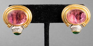18K Gold Pink & Green Tourmaline Diamond Earrings