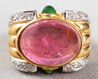 18K Gold Pink & Green Tourmaline Diamond Ring